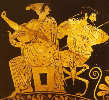 Aphrodite and Ares. Attic red figure kylix. National Archaeological Museum of Tarquinia
