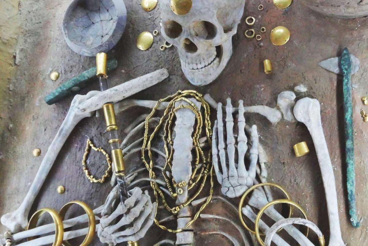 Gold from the richest grave in the cemetery at the 5th millennium site of Varna, Bulgaria. This grave contains c. 3kg of gold items decorating the body of the deceased. Credit: E. Pernicka.