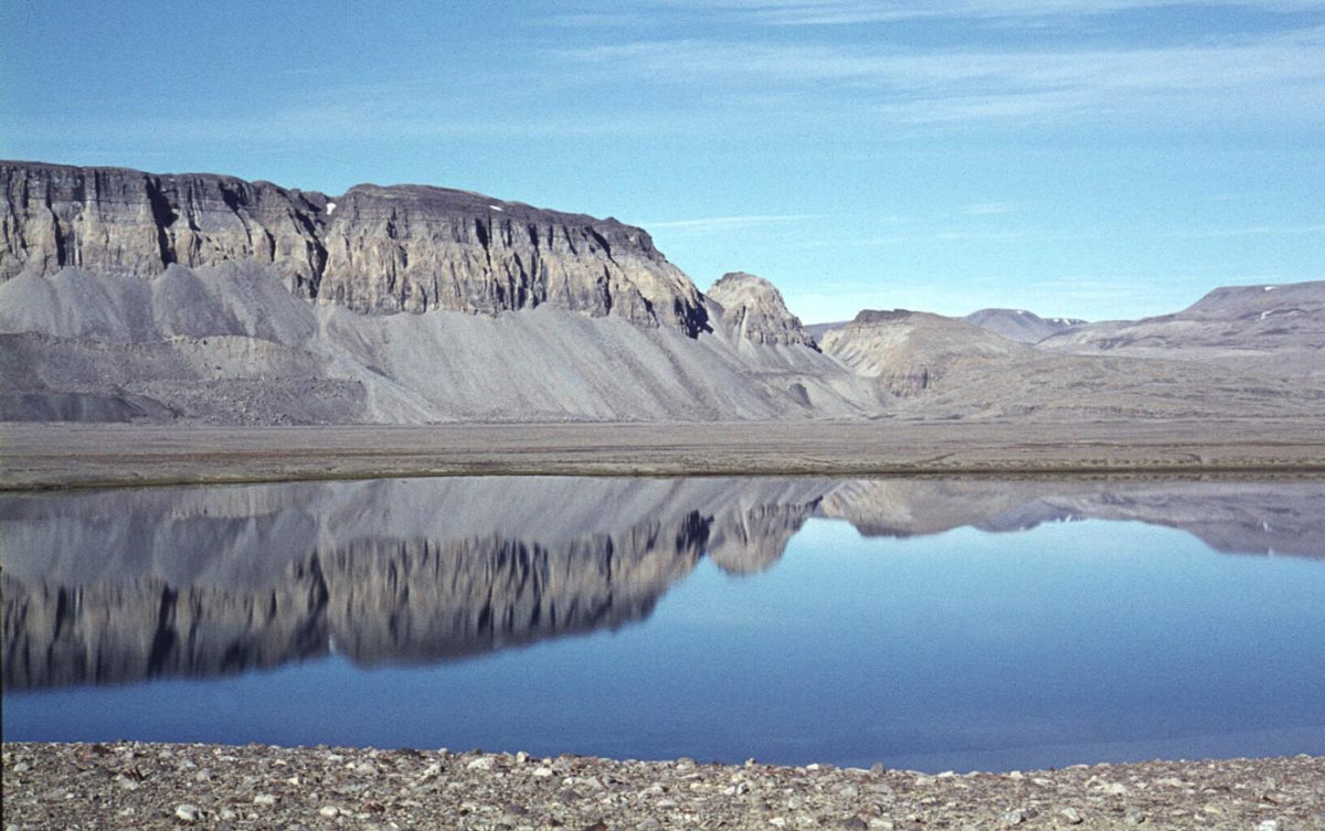 The fossil site in North Greenland photographed by John S. Peel in 1974. Image credit: John Peel