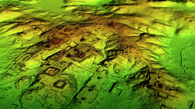 Maya structures are scattered across the jungle in this LiDAR image taken over northern Guatemala.  Credit: Wild Blue Media/National Geographic