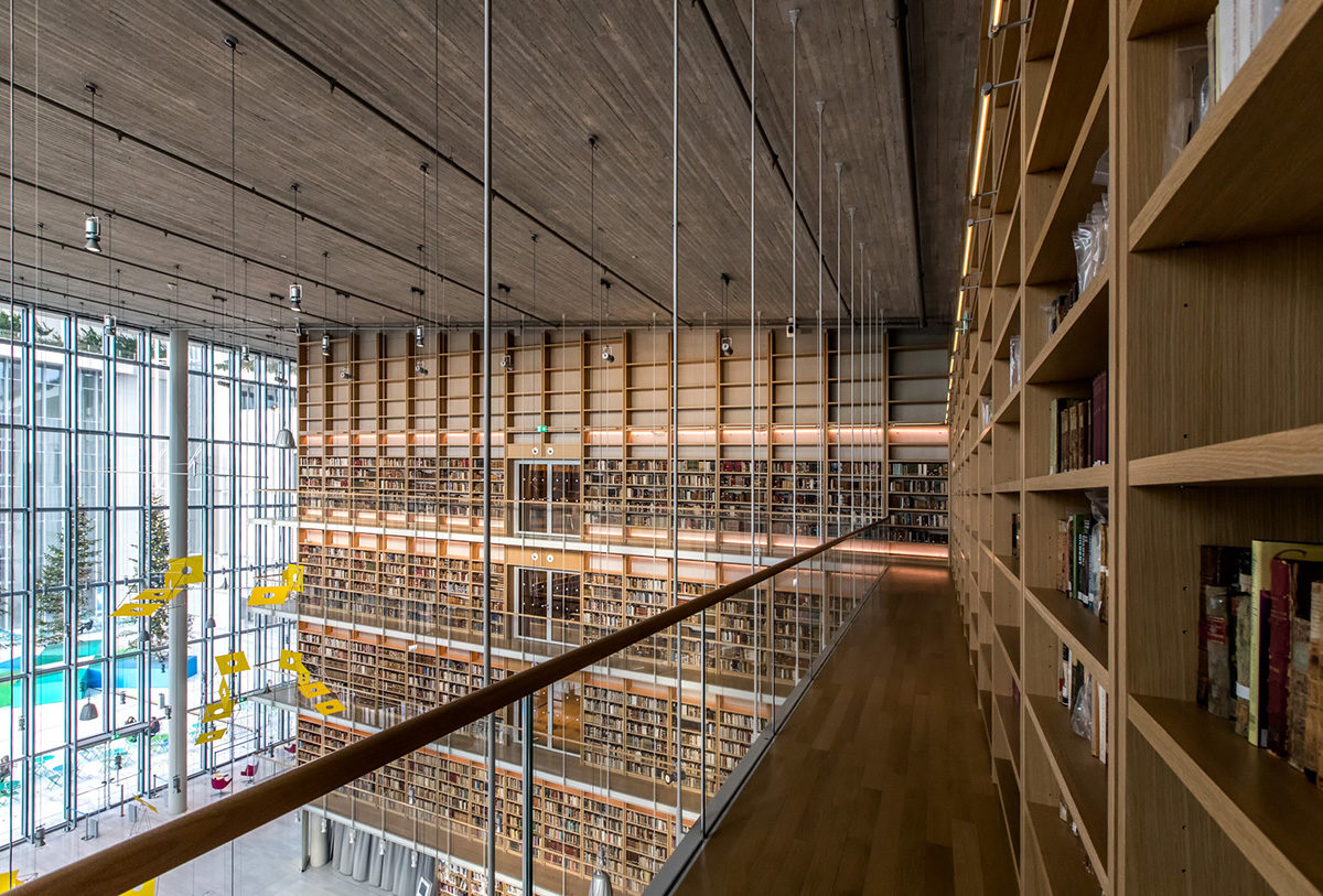 "Book ""stacks""of the National Library of Greece."