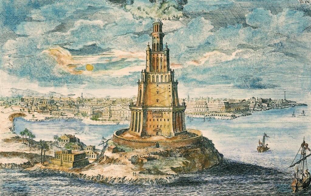 Pharos of Alexandria by Johann Bernhard Fischer von Erlach.