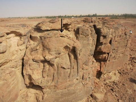 High relief of standing dromedary on sandstone spur at center of image. Credit: © CNRS/MADAJ, R. Schwerdtner