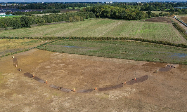 An aerial view of the site of the Neolithic causewayed enclosure. Credit: Wessex Archaeology