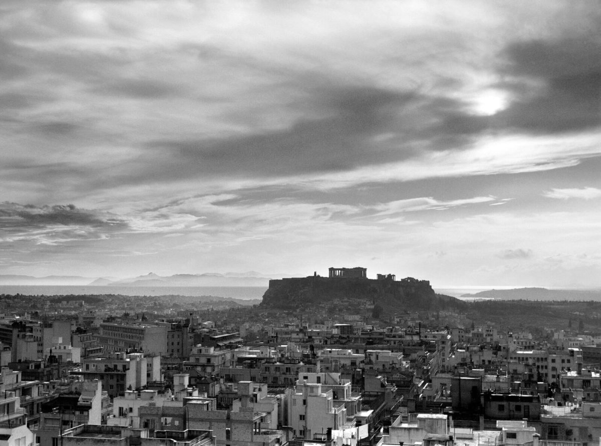 Ioannis Lambros, Panoramic view of Athens with the Acropolis in background, 1960.