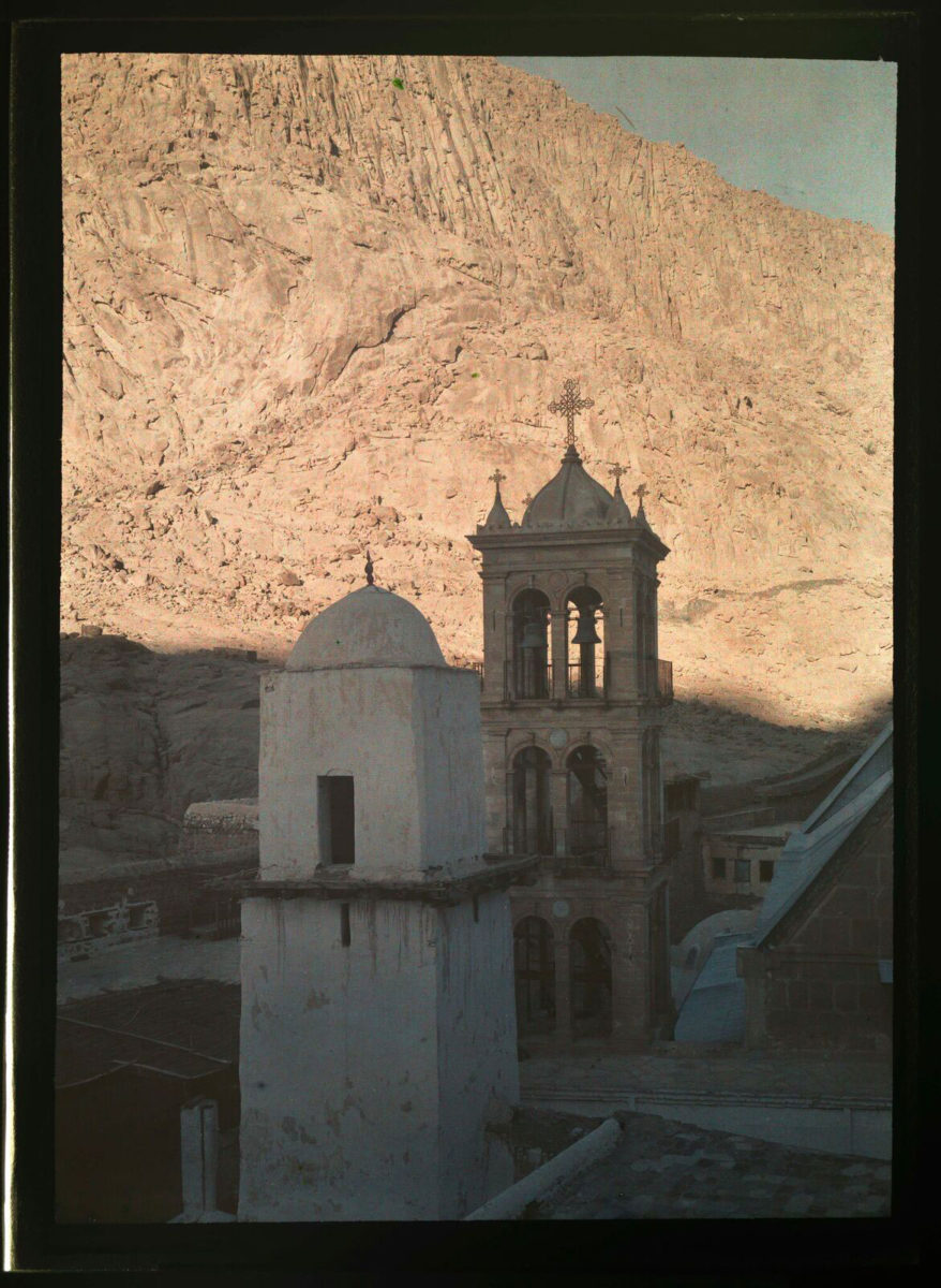 Saint Catherine's Monastery Tower and Minaret on Mount Sinai, 19 April 1929 [autochrome glass plate] © Roussen Collection / Saint Catherine Foundation