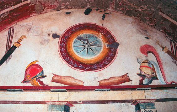 Ancient Macedonian paintings of Hellenistic-era military armor, arms, and gear from the Tomb of Lyson and Kallikles in ancient Mieza (modern-day Lefkadia), Imathia, Central Macedonia, Greece, dated 2nd century BC.