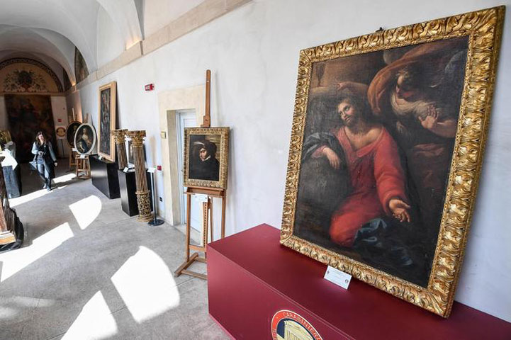 The Carabinieri department for the Protection of Cultural Heritage announced that it had retrieved 37 paintings including a work by Guido Reni (photo: ANSA).