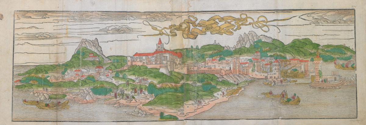 View of Herakleion (Candia). Hand-coloured wood cut. Bernard von Breydenbach, Reise ins Hellige Land, E. Rauwich, Mainz. Printed on 21 June 1486. Benaki Museum - The Efstathios Finopoulos Collection.