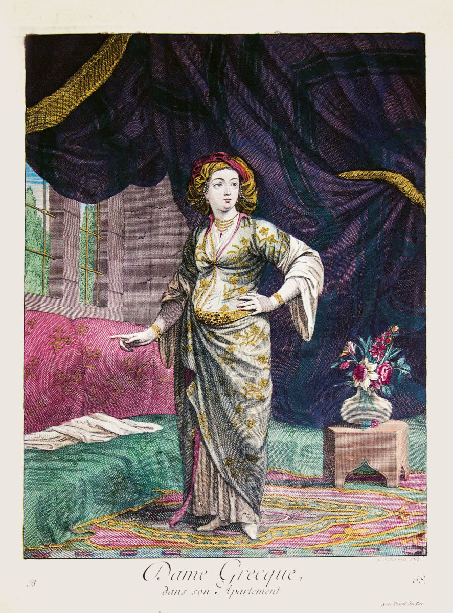 Greek woman in her apartments. Detached copper engraving, drawing by J. B. van Mour. Gold details in relief can be seen in the jewellery and Belt. Charles de Ferriol, Recueil de cent estampes représentant differentes nations du Levant…, Chez Le Hay, Chez Duchange, Paris 1714. Benaki Museum - The Efstathios Finopoulos Collection.