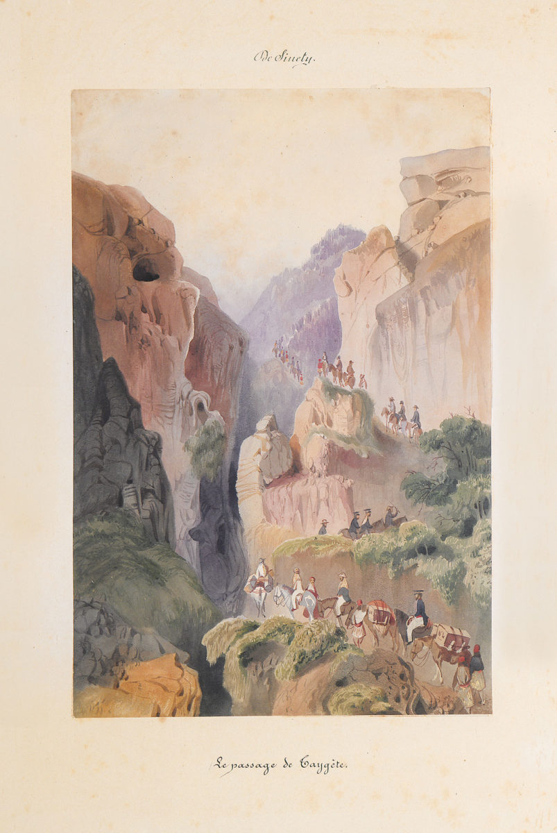 Jules M. V. vicomte de Sinety, Ascent of Mount Taygetos. Watercolour. 1845 Benaki Museum - The Efstathios Finopoulos Collection.