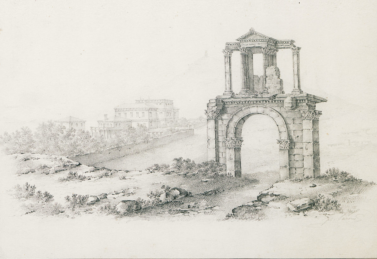 Hadrian's Gate (detail). Drawing in pencil by Franz Tarone. Tarone, who was from South Germany, came to Greece in 1834 and joined the Greek army as a non-commissioned officer. He made drawings of the ancient monuments of Athens, the originals of which King Othon bought around 1840. Benaki Museum - The Efstathios Finopoulos Collection.