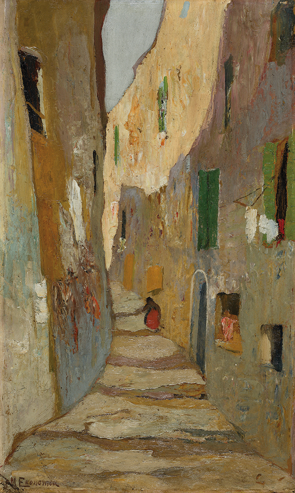 Michalis Oikonomou Street in old Marseilles 1920-25Oil on cardboard Bank of Greece Art Collection