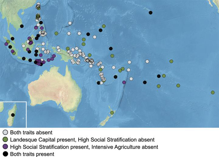 Distribution of intensive agriculture ('landesque capital') and high social stratification in the societies analyzed. Each filled circle represents one of the 155 societies in the sample, and its color corresponds to which traits are present in that society. Credit: Sheehan et al. Coevolution of intensive agriculture and sociopolitical hierarchy. PNAS (2018).