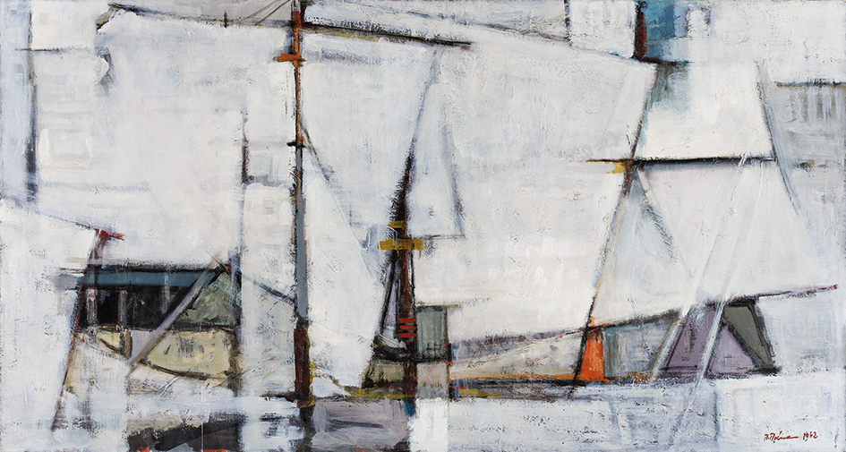 Paris Prekas, Sails 1962Oil on canvas Bank of Greece Art Collection