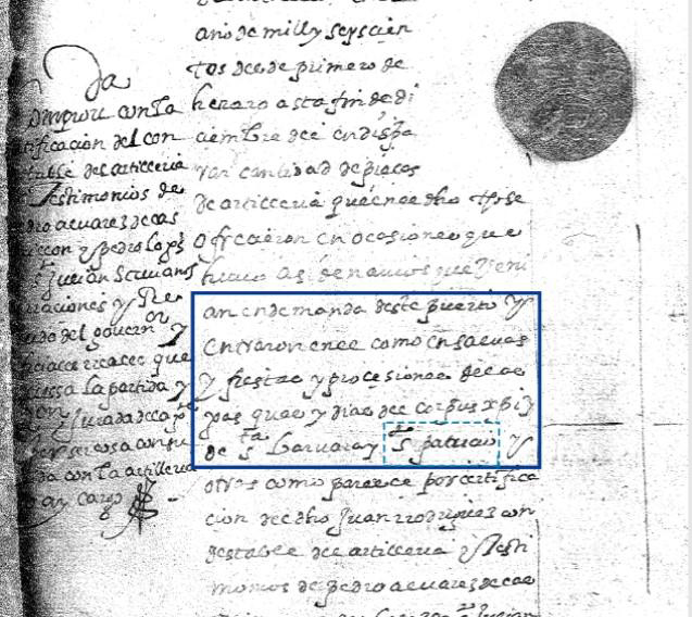 Document discovered in the General Archive of the Indies in Seville, Spain explains the St. Patrick's Day celebration in St. Augustine, Florida. Credit: AGI Contaduria 950