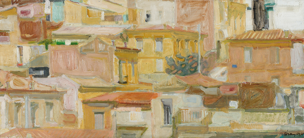 Panayiotis Tetsis Athens landscape1960  Oil on canvas Bank of Greece Art Collection