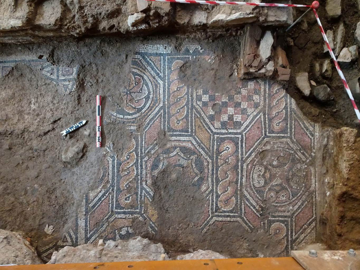 Mosaic floors dating from the 4th and 5th centuries AD, found at the south entrance of the Aghia Sophia station of the Thessaloniki Metro (photo: Ministry of Culture and Sports).