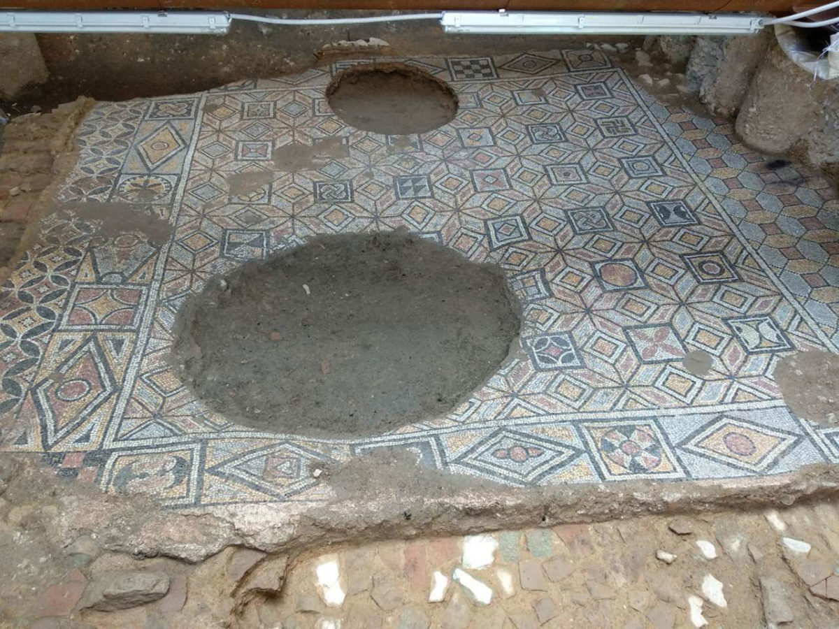 The mosaics have been destroyed in places, by the opening of big holes during the Ottoman period (photo: Ministry of Culture and Sports).