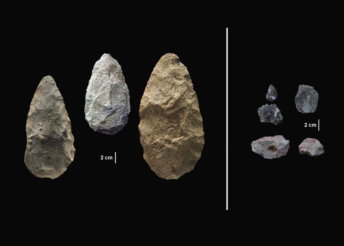 The sophisticated tools (right) were carefully crafted and more specialized than the large, all-purpose handaxes (left). Credit: Human Origins Program, Smithsonian