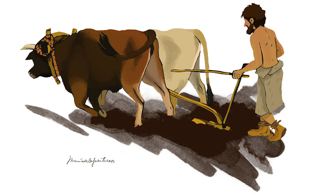 Representation of an Iberian Neolithic farmer. Credit: Maria de la Fuente  (Maria de la Fuente Archaeological Illustrations)