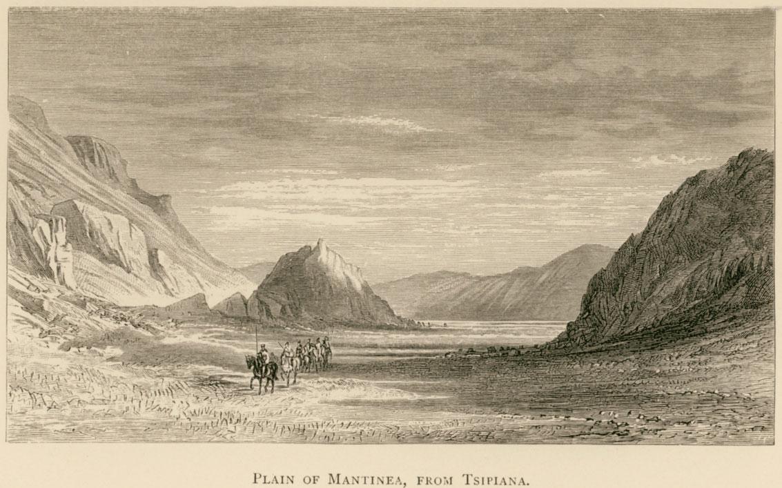 The plain of Mantineia seen from Tsipiana. Farrer, Richard Ridley, A Tour in Greece 1880, Edinburgh, William Blackwood, 1882.