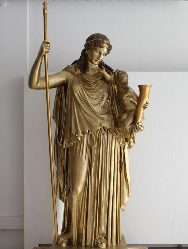 Eirene by Cephisodotus, 375/74 AD; bronze-coloured copy © Archäologisches Museum der WWU Münster, Foto: Silke Hockmann