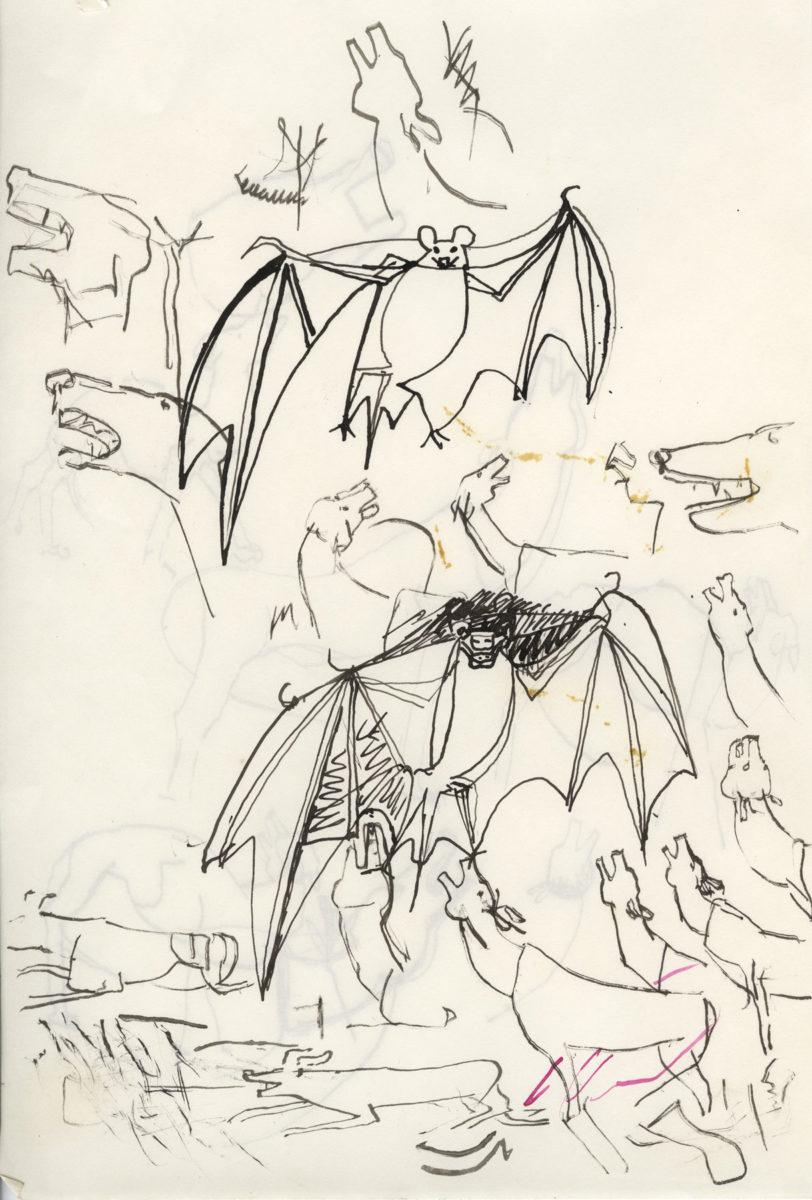 Nikos Hadjikyriakos-Ghika, Study for Amorgos by Nikos Gatsos, 1964. Indian ink on paper, 24.7 x 16.3 cm. Benaki Museum / The Ghika Gallery. ©2018 Benaki Museum