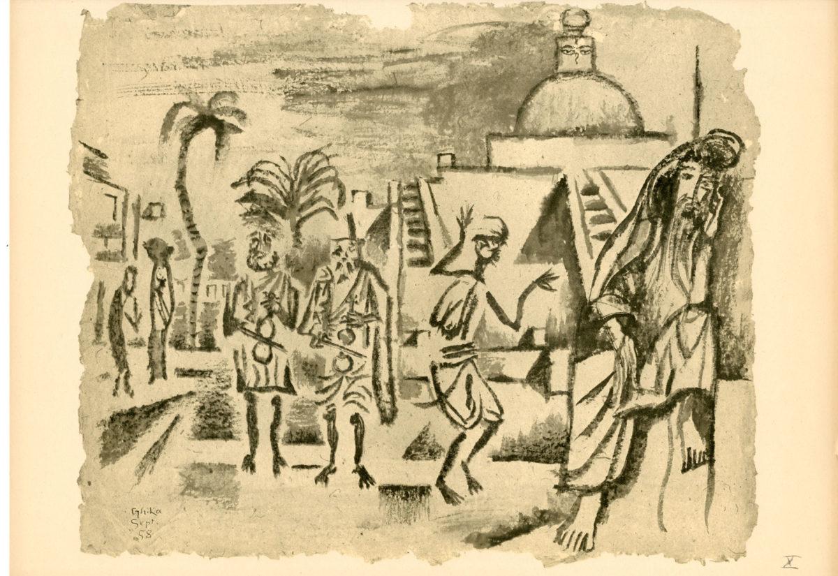 Nikos Hadjikyriakos-Ghika, Musical instruments and dancing in Kathmandu drawing for the album India, 1958. Indian ink on paper, 38 x 46 cm. Benaki Museum / The Ghika Gallery  ©2018 Benaki Museum