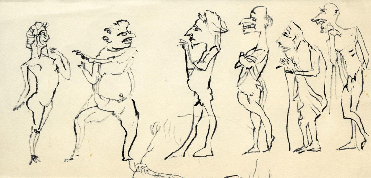 Nikos Hadjikyriakos-Ghika, Study for Lysistrata by Aristophanes, 1977. Indian ink on paper, 10.5 x 21.8 cm. Benaki Museum / The Ghika Gallery. ©2018 Benaki Museum
