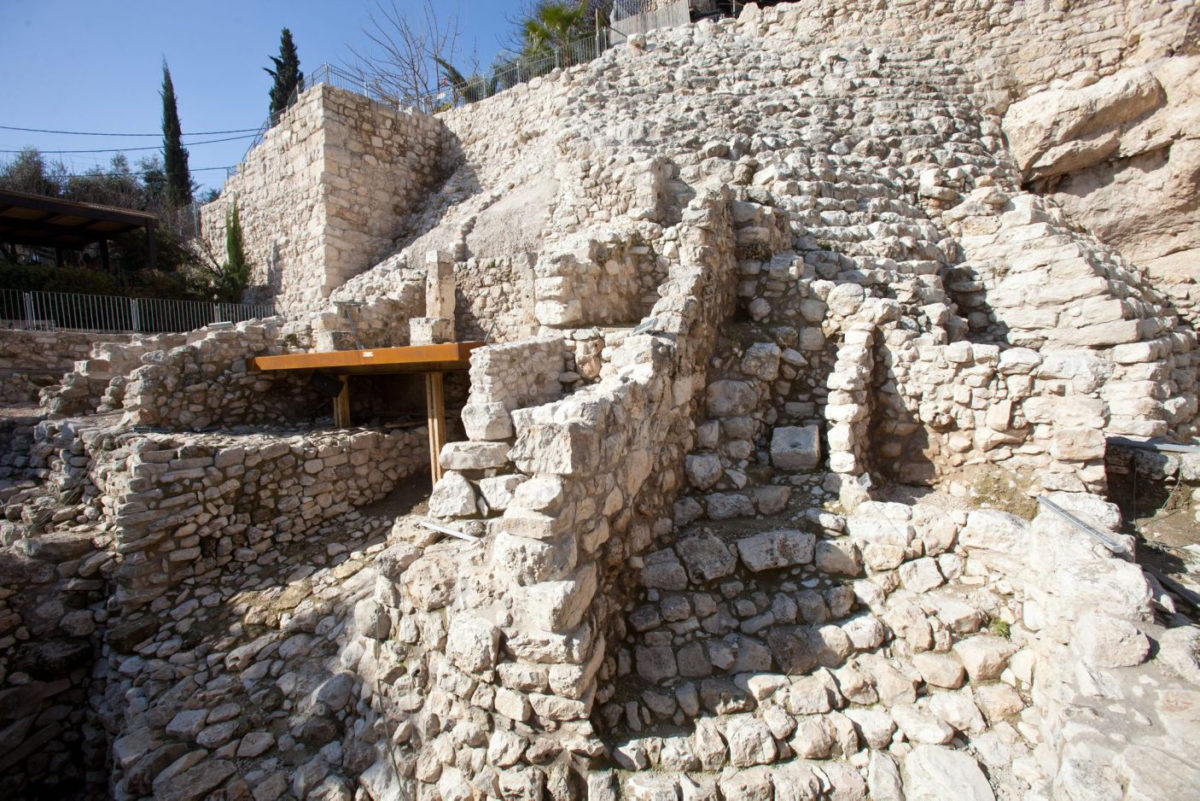 The stepped stone structure (in the bible: Millo) in the City of David, Jerusalem, atop of which King David supposedly built his palace. Credit: City of David Foundation