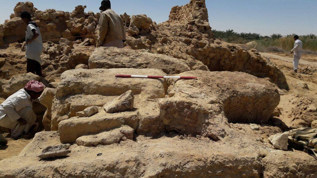 Archaeologists found the foundation of a large rectangular limestone building that measured 40 metres in length by 8.5 metres in width. Image credit: Ministry of Antiquities