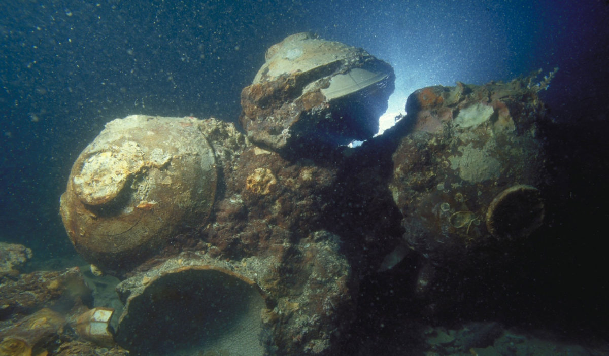 Chinese ceramic bowls in situ at the Java Sea Shipwreck site. Credit: © The Field Museum, Anthropology, Photographer Pacific Sea Resources