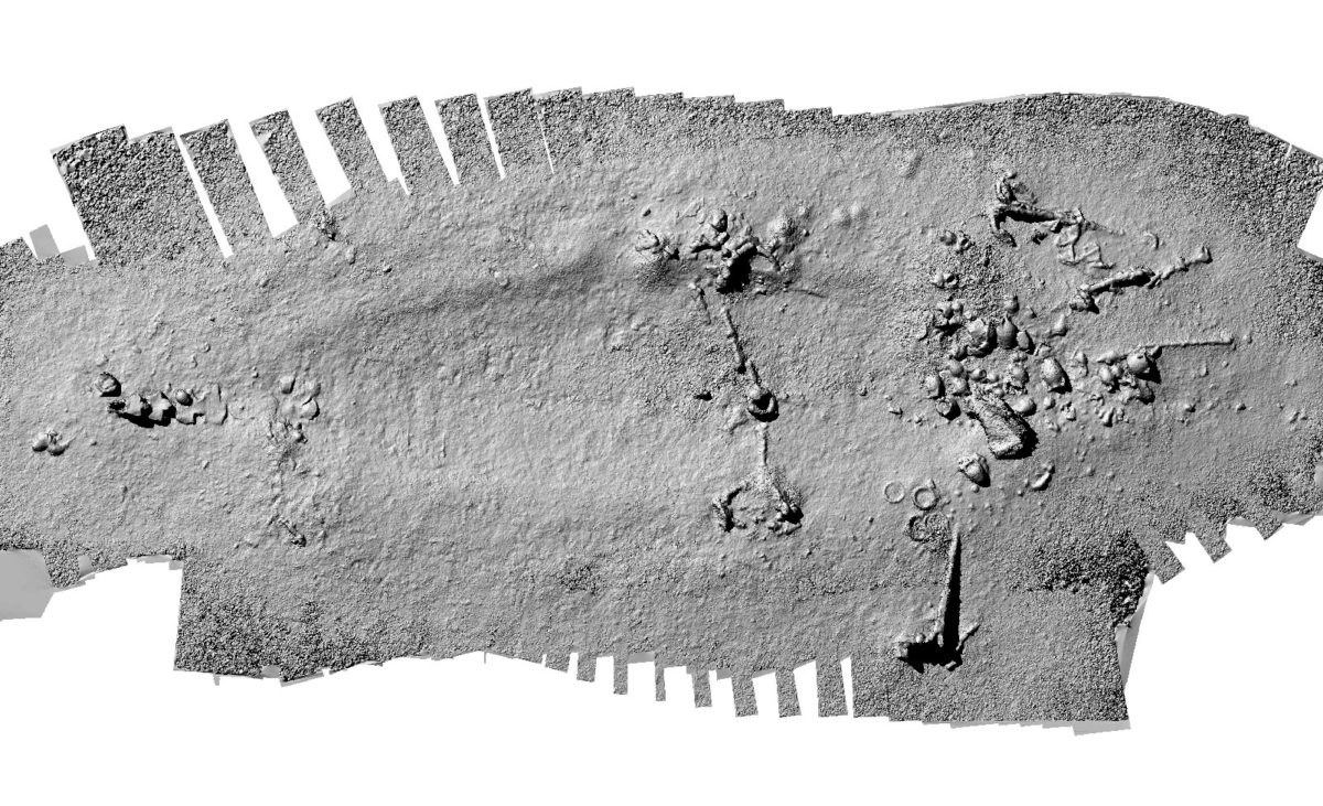 """Photo mosaic of the shipwreck """"Poseidon 3"""" (18th c.) at a depth of 1,260 metres (Survey by the Ministry of Culture and Sports and the Hellenic Centre of Marine Research (HCMR) for the transit of POSEIDON, the natural gas pipeline between Greece and Italy, processed by Y. Isaris /HCMR)."""