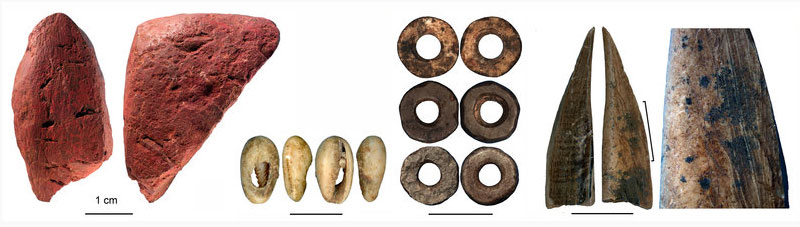 Worked artefacts from Panga ya Saidi cave (from left to right): worked red ochre; bead made of a sea shell; ostrich eggshell beads; bone tool; close-up of the bone tool showing traces of scraping. © Francesco D'Errico and Africa Pitarch