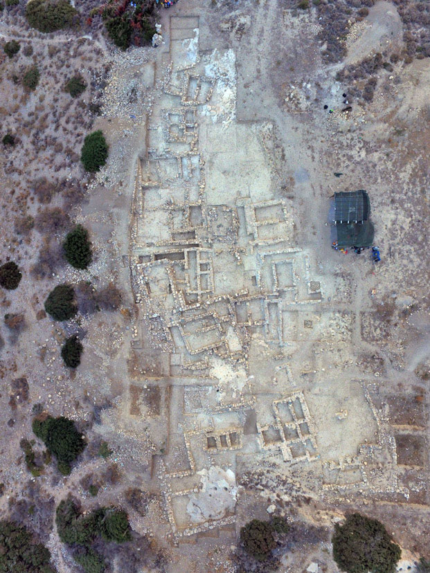 Aerial photograph of the Minoan cemetery at Petras, Siteia.