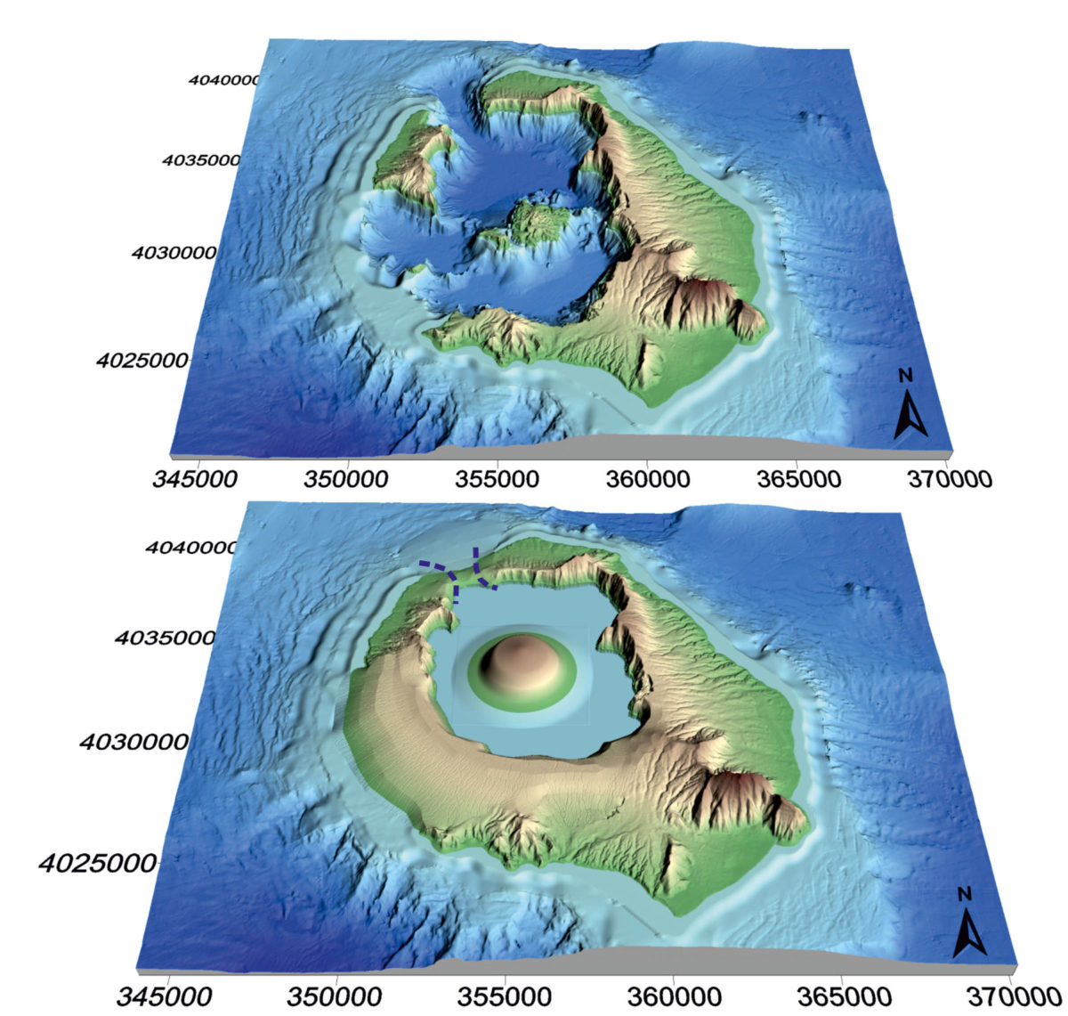 Digital elevation model (DEM) reconstruction of Santorini comparing (a) the present-day topography and (b) the proposed topography prior to the Minoan eruption.