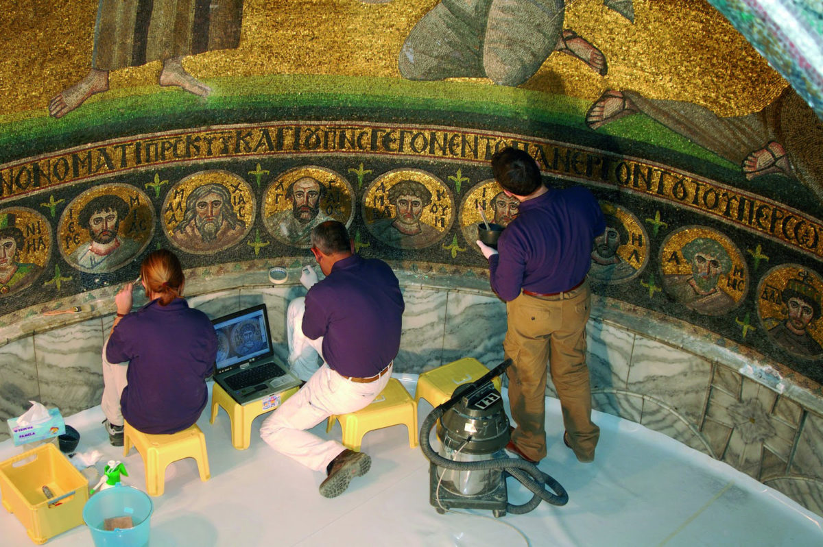 Scientific investigation allowed the conservators to identify the original materials and methods used in the construction of the mosaics and in subsequent restorations.  Credit: Europa Nostra