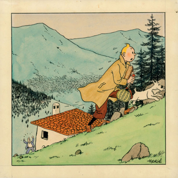 """The rare illustration by Belgian Cartoonist Hergé, the """"father"""" of Tintin, sold for 629,000 Euros, at an auction of comics at Christie's in Paris."""