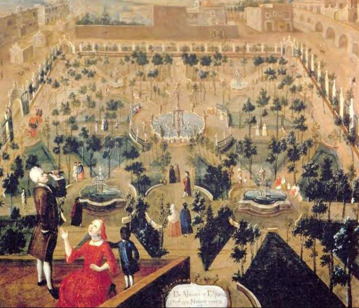 This is a painting of the Convent of Santa Isabel, in Mexico City, painted in the 18th century (author unknown). The building is now home to the Palace of Fine Arts. In the foreground of the painting, a family is pictured on the roof of the convent. Credit:  Velázquez A. 2004. La colección de pintura del Banco Nacional de México. Catálogo, Siglo XIX, México, Fomento Cultural Banamex, 2 V.