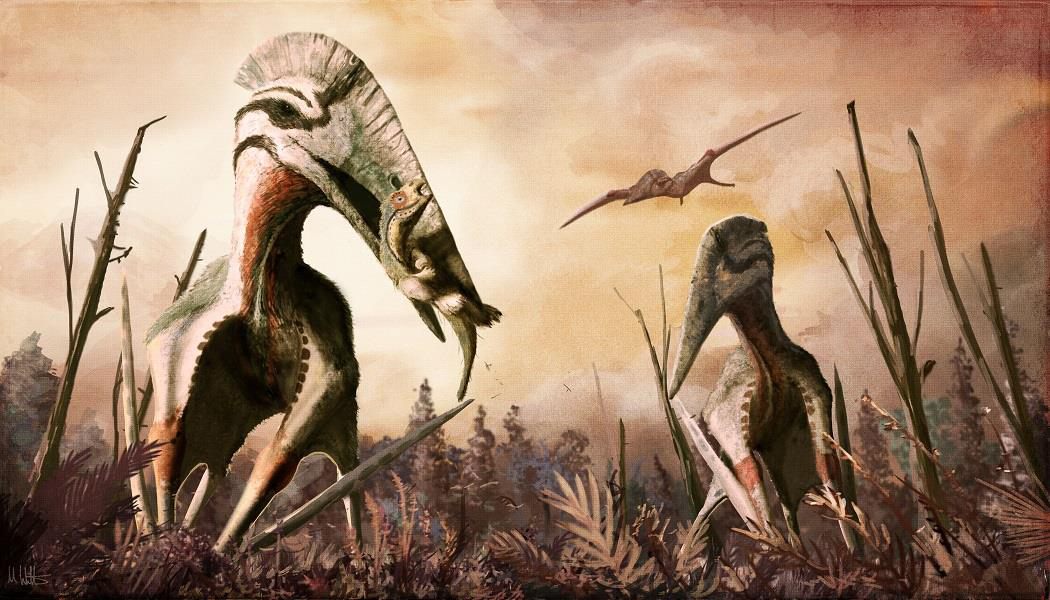 Restoration of the giant azhdarchid pterosaur Hatzegopteryx catching an unsuspecting dinosaur for supper. In addition to carnivory, azhdarchids have been hypothesised to have eaten fish, insects, fruits, hard-shelled organisms or a combination of them all. Credit: Mark P. Witton