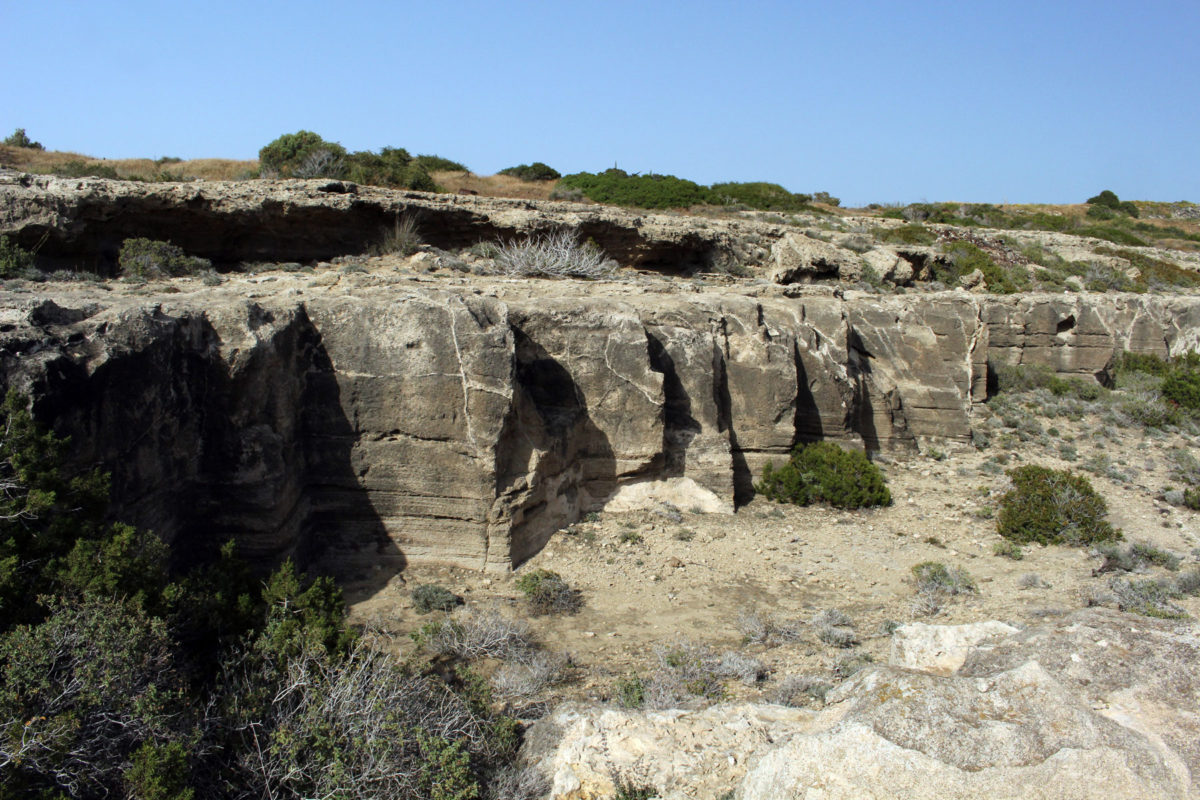 View of the ancient cliff-top quarries.