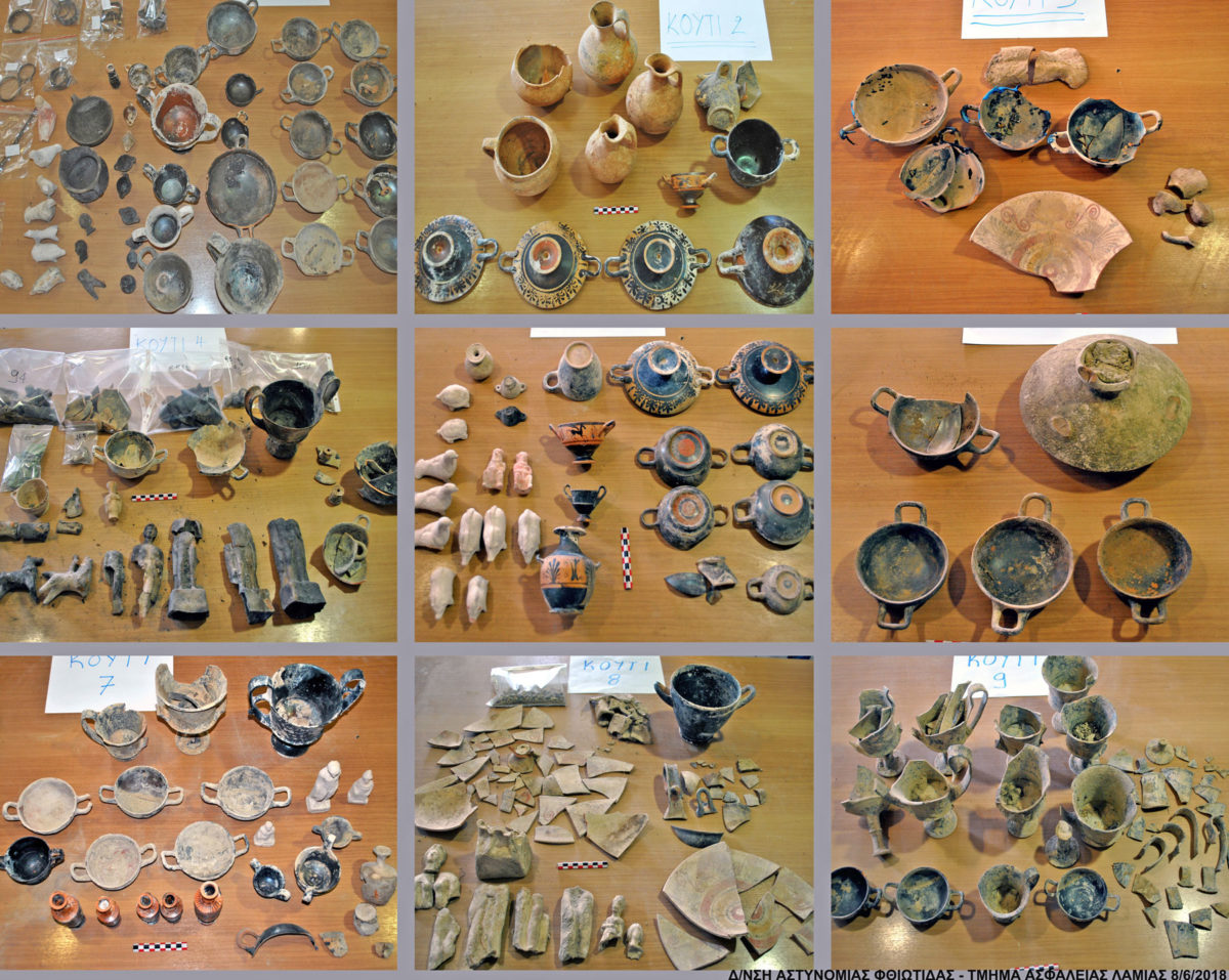 Some of the ancient artefacts found north of the village of Megaplatanos, in Atalanti  (photo: Hellenic Police)