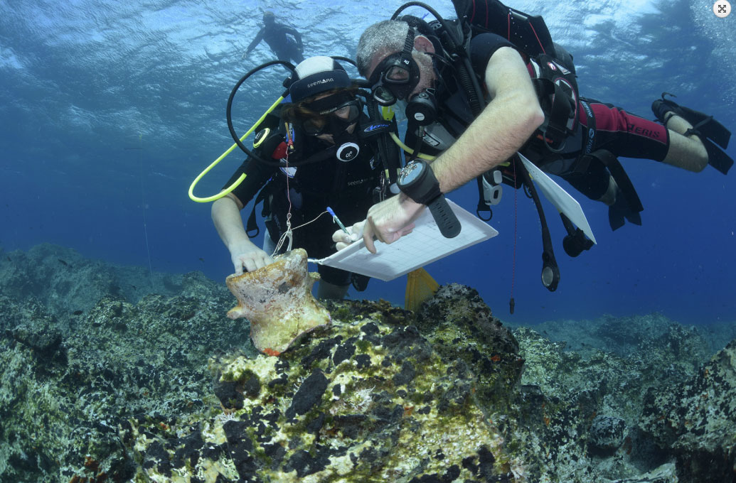 Snapshot of the underwater research off the southern coast of Naxos.( Photo: Ephorate of Underwater Antiquities/University of Oslo).