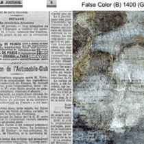 French newsprint and earlier works beneath Picasso's painting