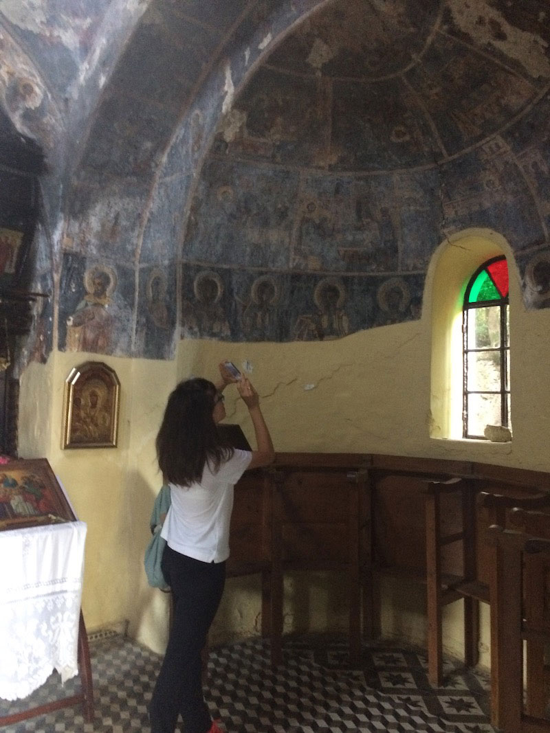Specialist conservators from the Ministry of Culture conduct an autopsy of the Kechria Monastery. Skiathos.