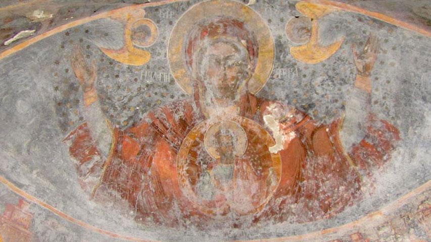 Kechria Monastery, Skiathos. Detail of wall painting.