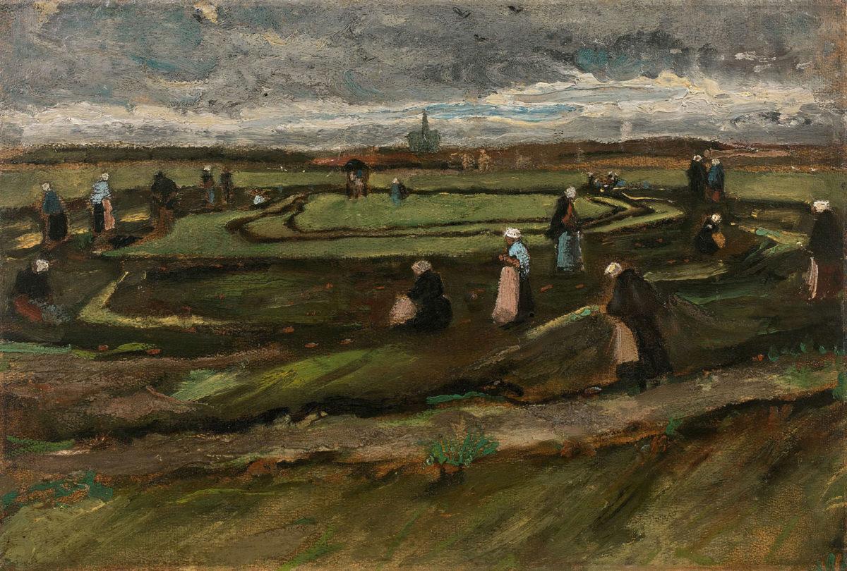 "Van Gogh, ""Raccommodeuses de filets dans les dunes/ Women mending nets in the dunes″, 1882 (photo: Artcurial)."