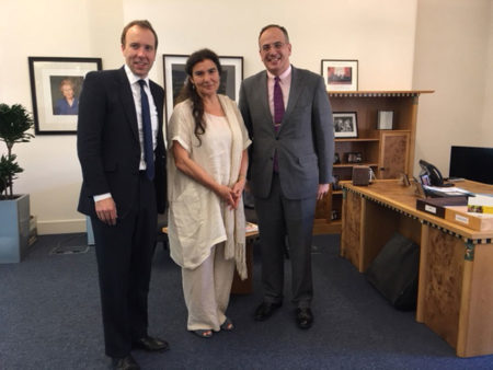 On her visit to London, Minister for Culture and Sport Mrs. Lydia Koniordou met as scheduled with her counterpart Mr. Hancock and the undersecretary in matters of culture Mr. Ellis.