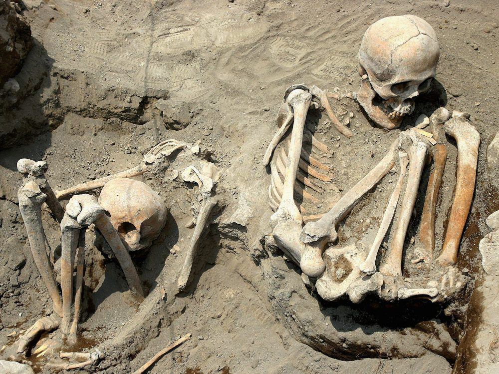 Two of fifty Pre-Hispanic human skeletons found by archaeologists at the Mexican National Institute of Anthropology and History in Chalco Valley, southwestern Mexico in 2005, dating back to the Aztec I phase.